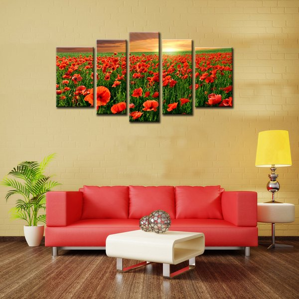 5 Panels Blume Meer Wandkunst Leinwand Malerei Schöne Rote Mohnblume mit Holzrahmen Für Dekoration als Geschenk