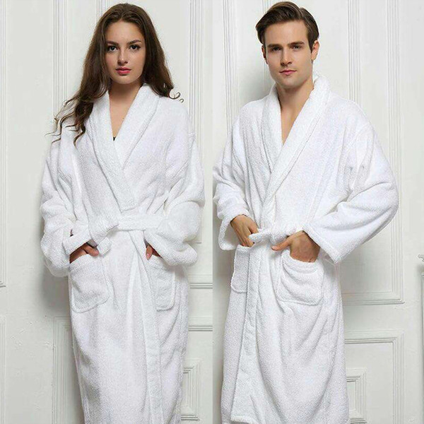 Wholesale- 2017 Long Unisex Winter Warm Dressing Gown Women And Men White Robe Cotton Twist Towel Bathrobe Dressing Gown Bath Robe