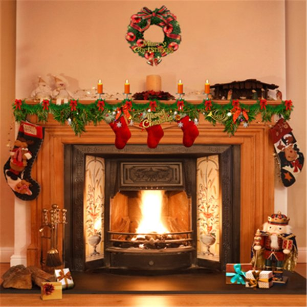 Indoor Fireplace Garland Photography Studio Background Printed Candles Gift Stockings Merry Christmas Home Party Photo Booth Backdrop