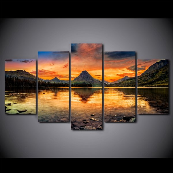 5 Pcs/Set HD Printed scenery medicine lake glacier Painting Canvas Print room decor print poster picture canvas Free shipping/ny-4331