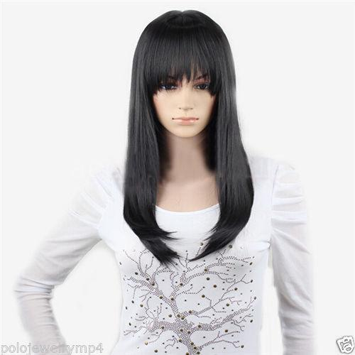 New Cosplay Fashion Party Casual Black Medium Long Straight wig