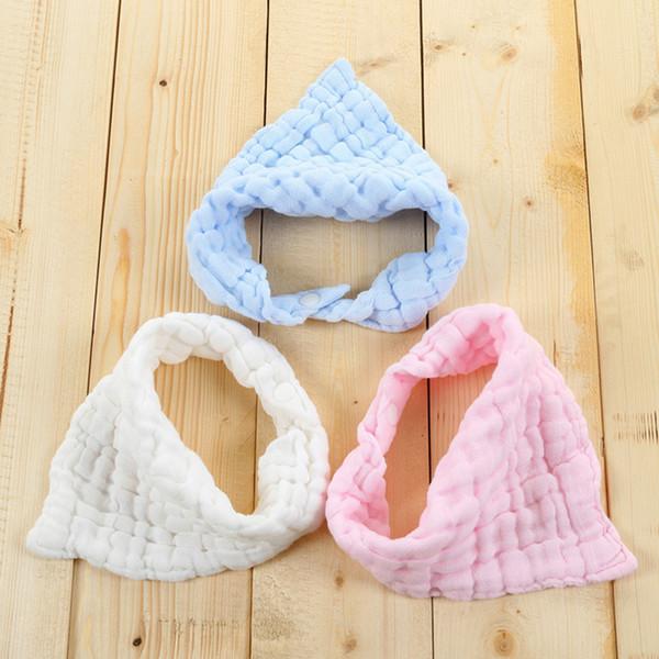 Hot Baby Infant Runched Gauze Cotton Bandana Bib Drool Bib Toddler Newborn Soft Breathable Feeding Lunch Scarf Bib Burp Cloths