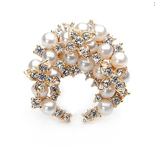 2 inch Gold Plated Ivory Pearl and Clear Rhinestone Crystal Wreath Pin Brooch