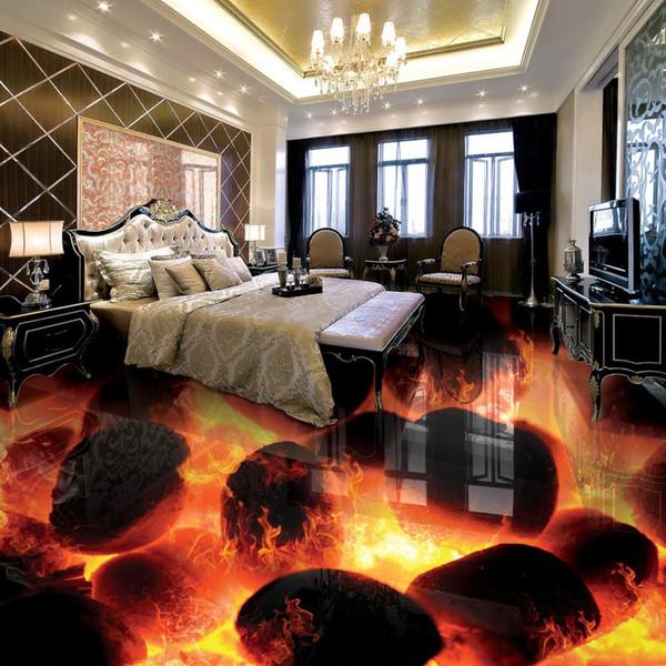 Großhandels-Gewohnheit 3D Bodenbelag Wandbilder 3D Stereo Steine Flamme Schlafzimmer Wohnzimmer selbstklebende Wasserdichte 3D Bodenfliesen Fresko Tapete