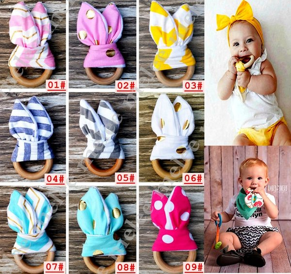best selling INS Baby Chevron Zigzag Teethers 28Colors Natural Wood Circle With Rabbit Ear Fabric Newborn Teeth Practice Toys Training Handmade Ring