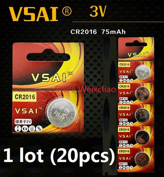 20pcs 1 lot CR2016 3V lithium li ion button cell battery CR 2016 3 Volt li-ion coin batteries VSAI Free Shipping