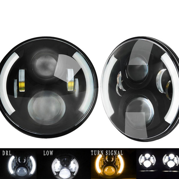 "1 Pair 7"" Inch LED Headlight With Halo Angel Eyes For Lada 4x4 urban Niva Jeep JK Land rover defender Hummer Led Headlamp"