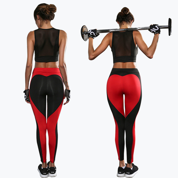 Yoga Pants Sports Leggings 2017 Sexy Peach Hips Heart Shape Gym Clothes Spandex Running Workout Women Patchwork Fitness Tights fast shipping