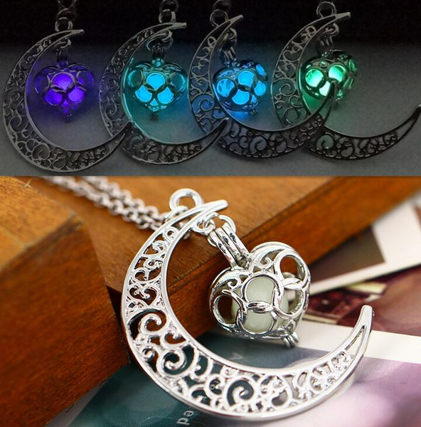 High quality Star Moon Time Night Lights Necklace Luminous Love Pendant Female WFN150 (with chain) mix order 20 pieces a lot