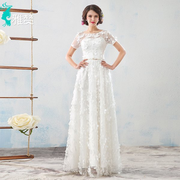 Sexy 3D Floral Wedding Dresses Bateau A Line Floor Length Bridal Gowns Lace Up Amelia Sposa With Short Sleeve