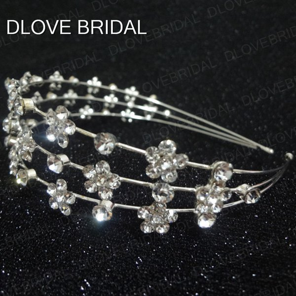 Free Shipping Rhinestone Bridal Headbands High Quality Three Row Crystal Floral Wedding Prom Party Hairband Hair Accessory Real Photo