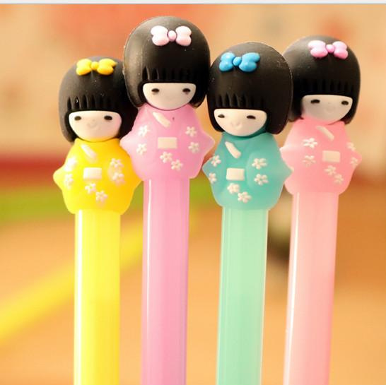 Wholesale gel pen free shipping 120pcs\lot And girl doll creative cartoon neutral pen writing pen 024