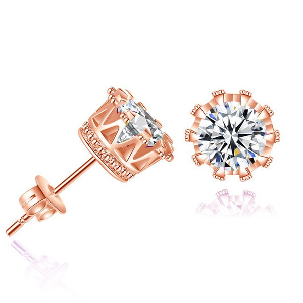 top popular 925 silver earrings natural crystal wholesale fashion small sterling silver jewelry for women stud men or women earings 2019