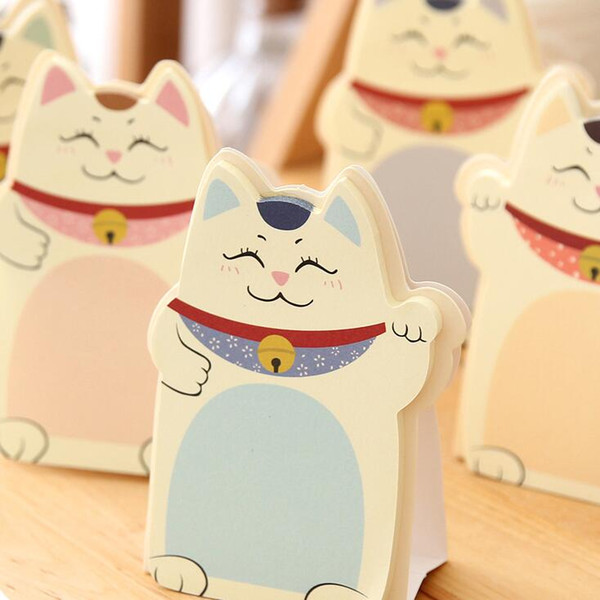 top popular Wholesale- 1pcs lot New Kawaii Lucky cats design Notepad Memo pad Paper sticky note message post nice stationery supplies 2020