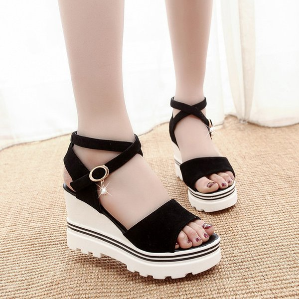 Summer Korean muffin fish head women sandals with platform sandals wild simple shoes shook with students in LPP28