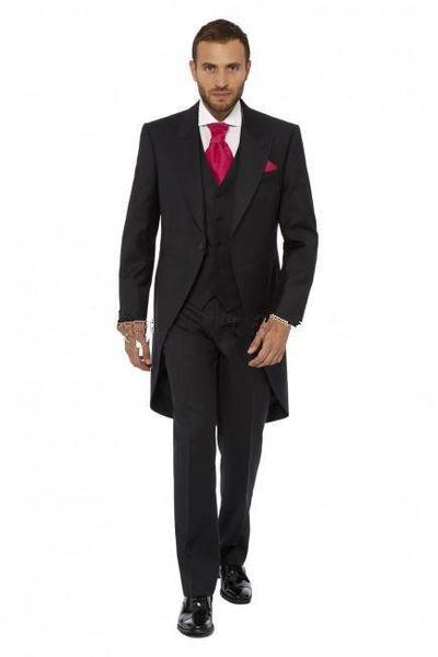 Al por mayor- Swallow-Tailed Coat Formal de alta calidad a medida 3 Piezas (JacketPantVentTie) Nuevos trajes de los hombres de estilo enarbola solapa un botón traje gris