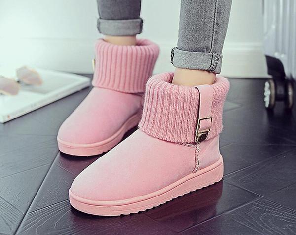 2018 New snow boots women warm cotton down shoes waterproof boots fur platform mid calf boots black pink grey Khaki