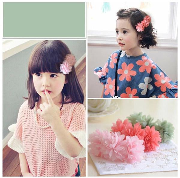 Niños flores de gasa pinzas para el cabello cuerda para el cabello banda de goma para niñas florales para la fiesta de bodas regalos de cumpleaños rosa rojo amarillo
