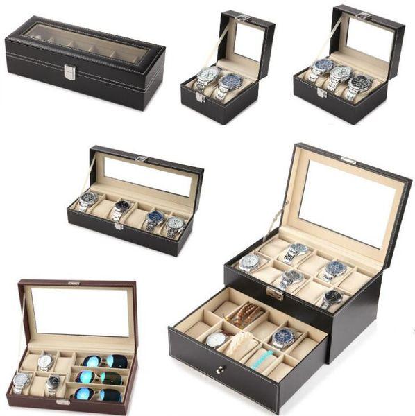 Luxury Watch Box Black 3 6 12 Grids Window Watches Jewelry Display Case Watch Storage Organizer Box Holder Gift Free Shipping