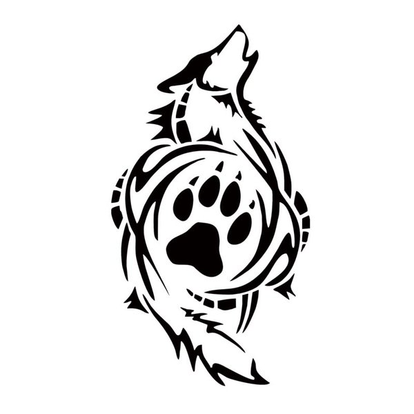 tribal wolf paw print car styling decal vinyl personality sticker funny window car accessories graphics decorate