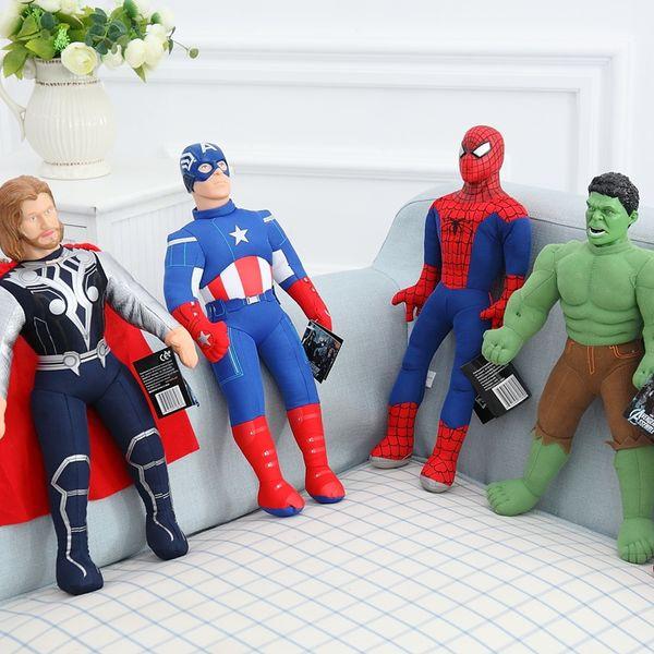 Marvel Movie Captain America Iron Man Thor Spiderman Hulk Plush Toy Soft Stuffed Animal Doll Gift for Children Boy 43cm