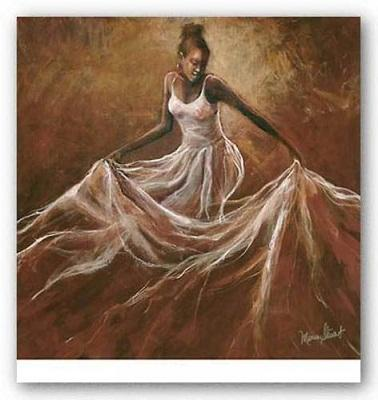 Ethereal Grace Monica Stewart,Pure Handpainted AFRICAN AMERICAN Art oil Painting On Canvas Museum Quality,any customized size,ebon