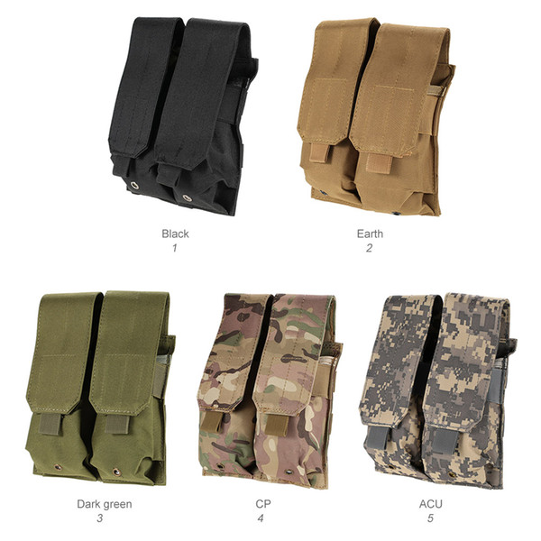 Molle Tactical Clip Double Mag Magazine Pouch Bag Pistol Magazine Pouch Cartridge Clip Pouch Utility Tool 600D Oxford Fabric