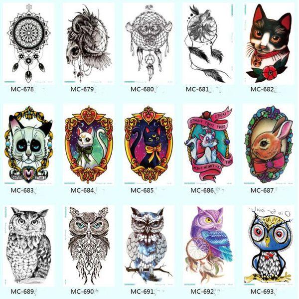 Bunte Zeichnung Tätowierung Frauen Männer Body Art Cartoon Eule Aufkleber Design wasserdicht Tattoo Sticker Aquarell