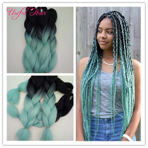 best selling Braided hair bundles 24inch 2x Jumbo BRAIDS SYNTHETIC braiding hair two tone ombre color crochet extensions box crochet braids hair marley