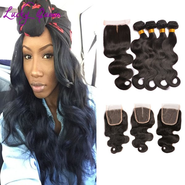 8A Peruvian Virgin Hair With Closure Body Wave 4 Bundles Human Hair Weave With Lace Closure Peruvian Body Wave