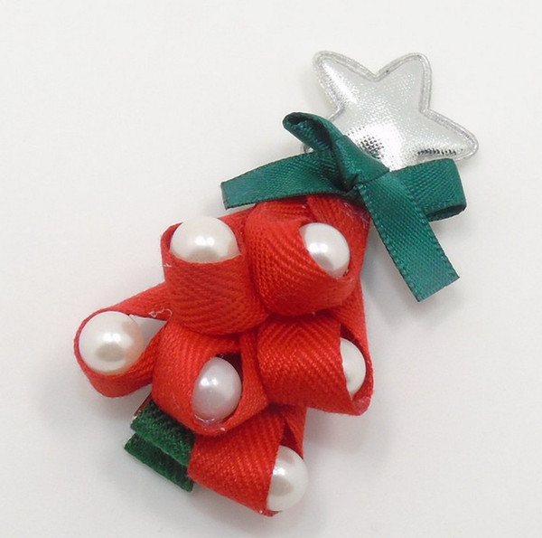 Christmas Tree Hair Clip Hairpins Red Green New Side Hair Clips Star Top Grips With bead Festive Head Wear Barrettes