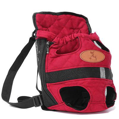 Wholesale- Red Canvas Pet Backpack Puppy Dog Carry Bag Durable Backpack Portable Cat Chest Front Packbag