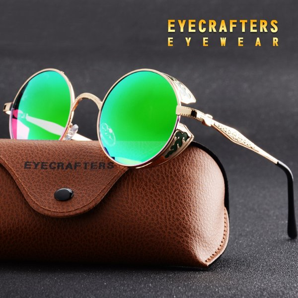 Wholesale- Eyecrafters Polarized Gothic Steampunk Sunglasses Coating Mirrored Round Circle Sun glasses Vintage Gafas Masculino Green