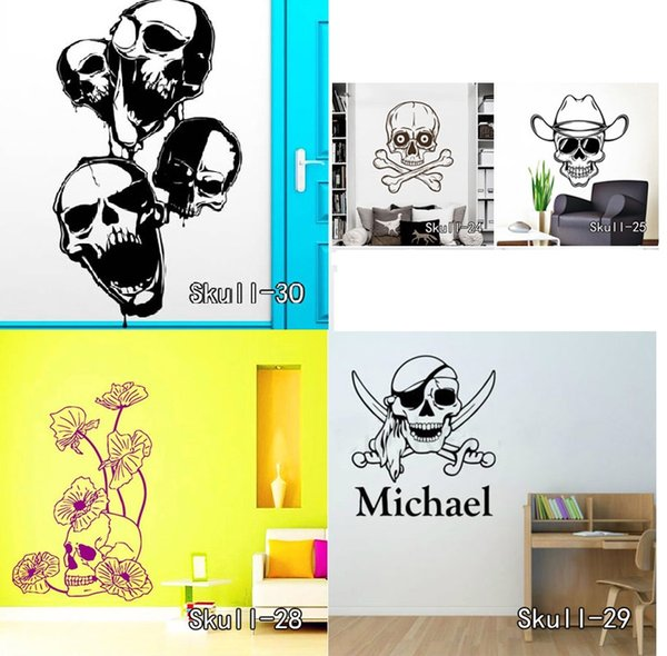 Flower Skull Wall Stickers Vinyl Knife Skull Halloween Wall Sticker Cartoon Removable Sunglasses Bone Decals Home Decor Free Shipping