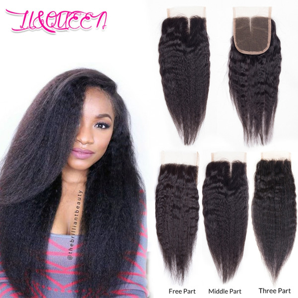 Mongolian Virgin Human Hair Kinky Straight 4x4 Lace Closure Kinky Straight Hair Weaves Natural Color Full Density From Li&Queen Hair