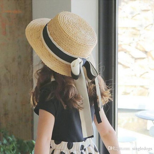 Hotest Khaki Straw Sun Girls Women Hats Sunhats For Kids Wide Brim Summer Beach Hat Children Women Visor Caps Free Shipping