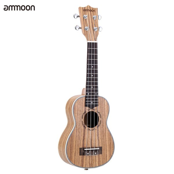 """best selling Wholesale- ammoon Zebrawood 21"""" Acoustic Ukulele 15 Fret 4 Strings Stringed Musical Instrument Suitable for Both Kids and Adults"""
