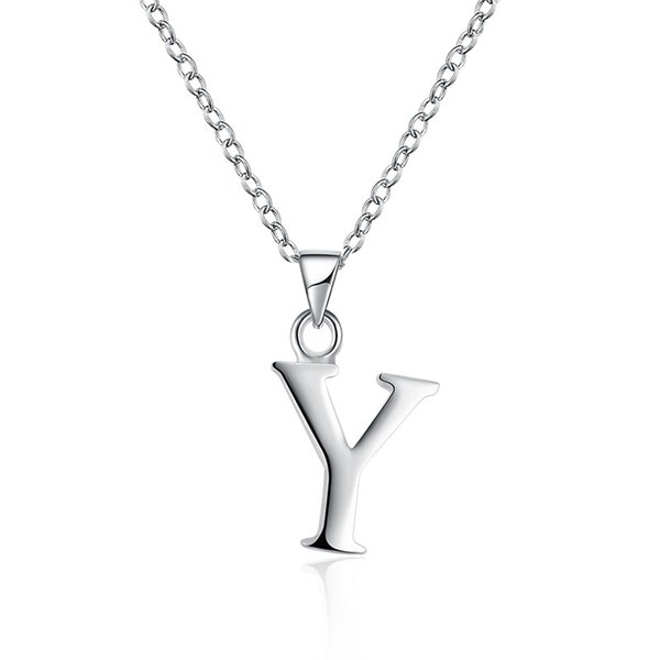 ECO-friendly Unisex Silver Plated Brass Metal Letter Y Slide Pendant Initial Necklace from Guangzhou Free Shipping