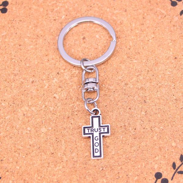 Yeni Moda çapraz güven tanrı Anahtarlıklar Antik Gümüş kaplama Keyholder moda Katı Kolye Anahtarlık hediye