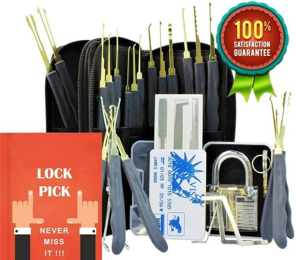 24 Piece GOSO Lock Picking Tool Set LockSmith Practice Lock Pick Tool Set with Transparent Padlock Credit Card Lock Pick Set