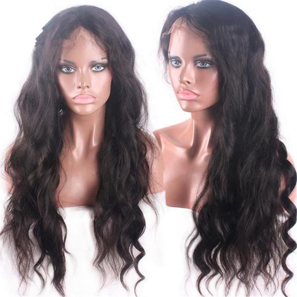 Hot Sale 1B Natural Wavy Human Hair 100 Virgin Peruvian Hair Glueless Lace Front Wig with Baby Hair Free Shipping