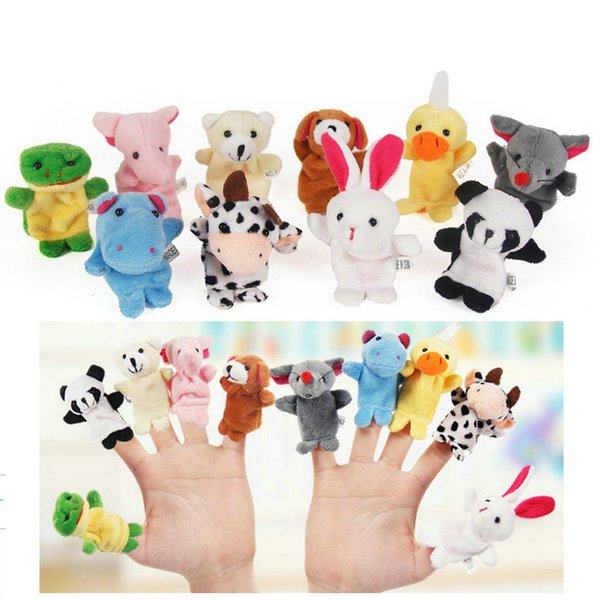 free Baby Plush Toy Finger Puppets fashion Stuffed Animals plus animals creative Talking Props 10 animal group 10pcs/set best quality gift