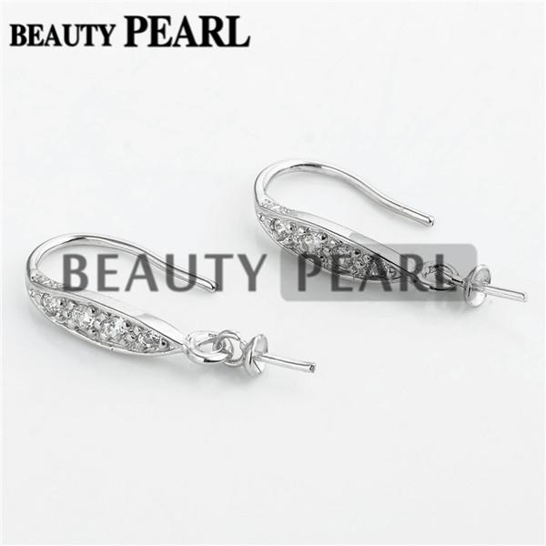 Bulk of 3 Pairs Earring Blanks for Drop Pearls Fishhook 925 Sterling Silver Zircon Jewellery Findings