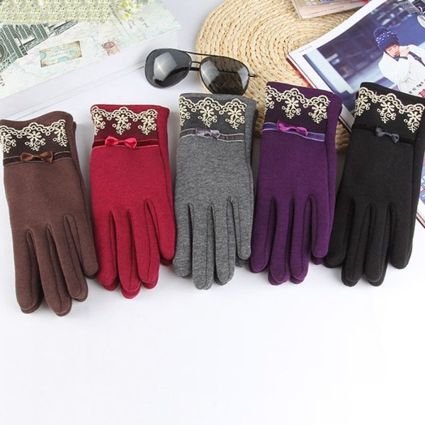 2017 Warm Winter Lace Gloves Adult Size Warm Five Fingers Gloves 5 Colors Grace Design For Women Good Elasticity
