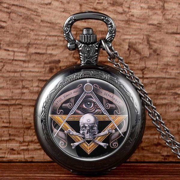 Unique Freemasonry Pendant Steampunk Quartz Pocket Watch Mens Steel Watches Vintage Skull Necklace Chain Retro Hour Clock Gifts