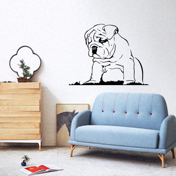 New Style Languid Dog Vinyl Wall Sticker Bulldog Puppy Wall Decal - Sporting wall decals