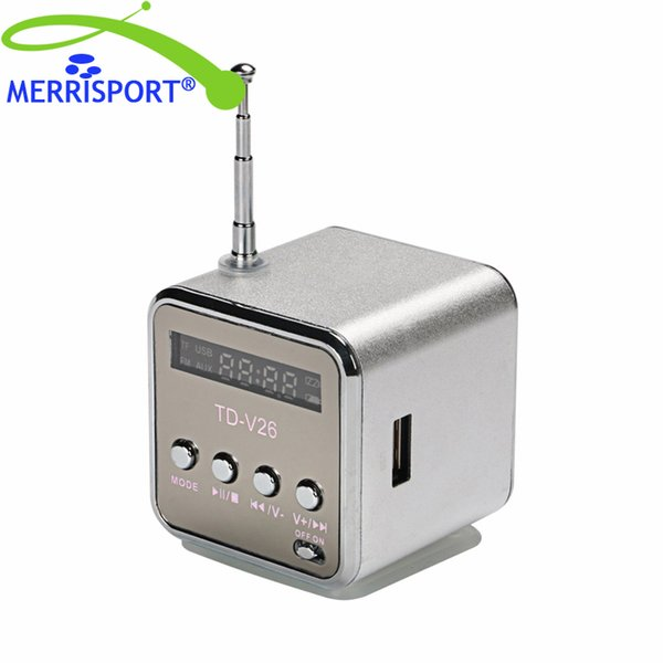 Silver 3.5mm Mini Portable Music Player Speaker FM Radio USB Micro SD TF Card ED