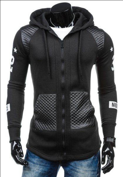 2017 Men's Fashion New Winter Coat Sleeve Slim Leather Fight Print Cardigan Sweater Zipper hoodies Cotton Blend Applicable scenes: Daily