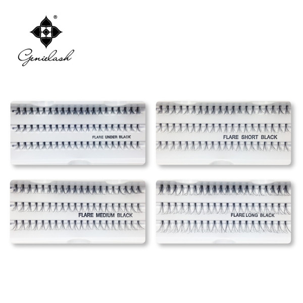 Wholesale- 4 Cases 8/10/12/14mm Individual Flare False Eyelashes 10 Hairs/Cluster Fake Lashes