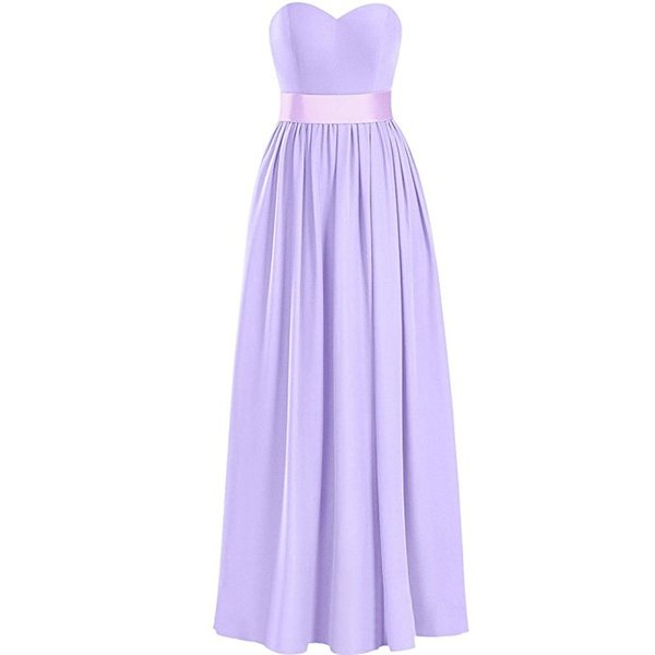 Cheap Long Wedding Guest Dress Bridesmaid Dresses Sweetheart Strapless Chiffon Long Evening Dresses with Sash Prom Gown